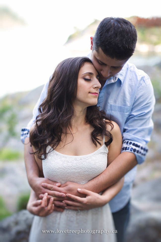 Canadian wedding photographers shot this dreamy, creamy beachside vancouver engagement portrait (www.lovetreephotography)