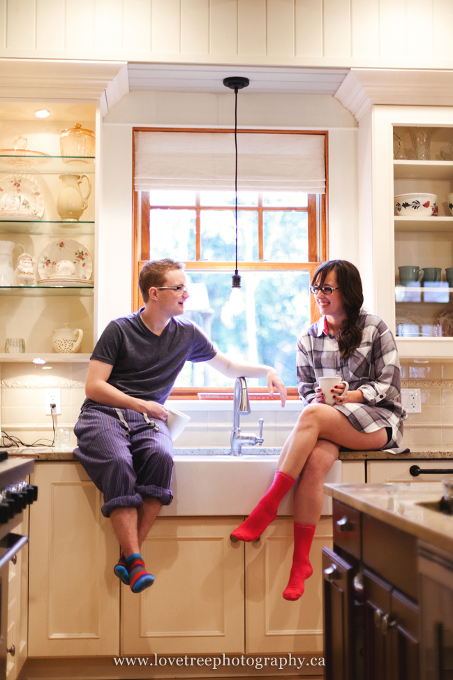 engagement session in a kitchen