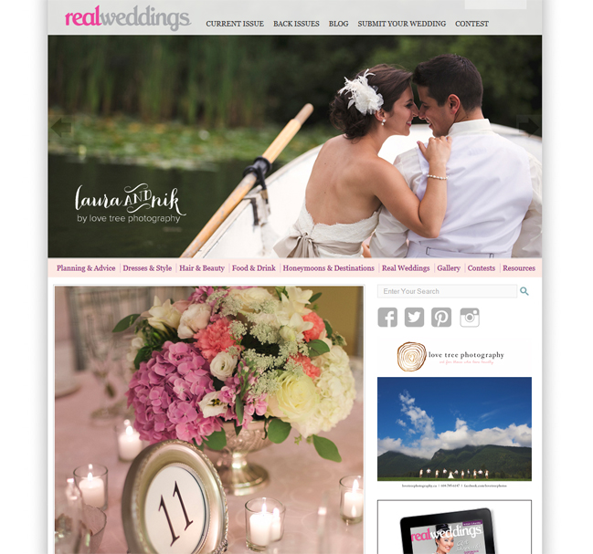 love tree photography is featured on the Real Weddings Magazine blog